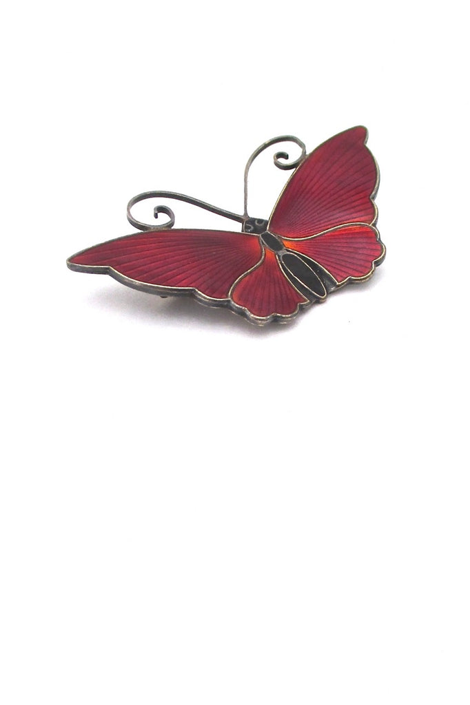 detail David-Andersen-Norway-large-vintage-silver-red-enamel-butterfly-brooch