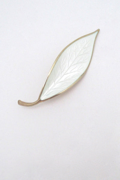David Andersen Norway vintage sterling silver enamel leaf brooch Willy Winnaess