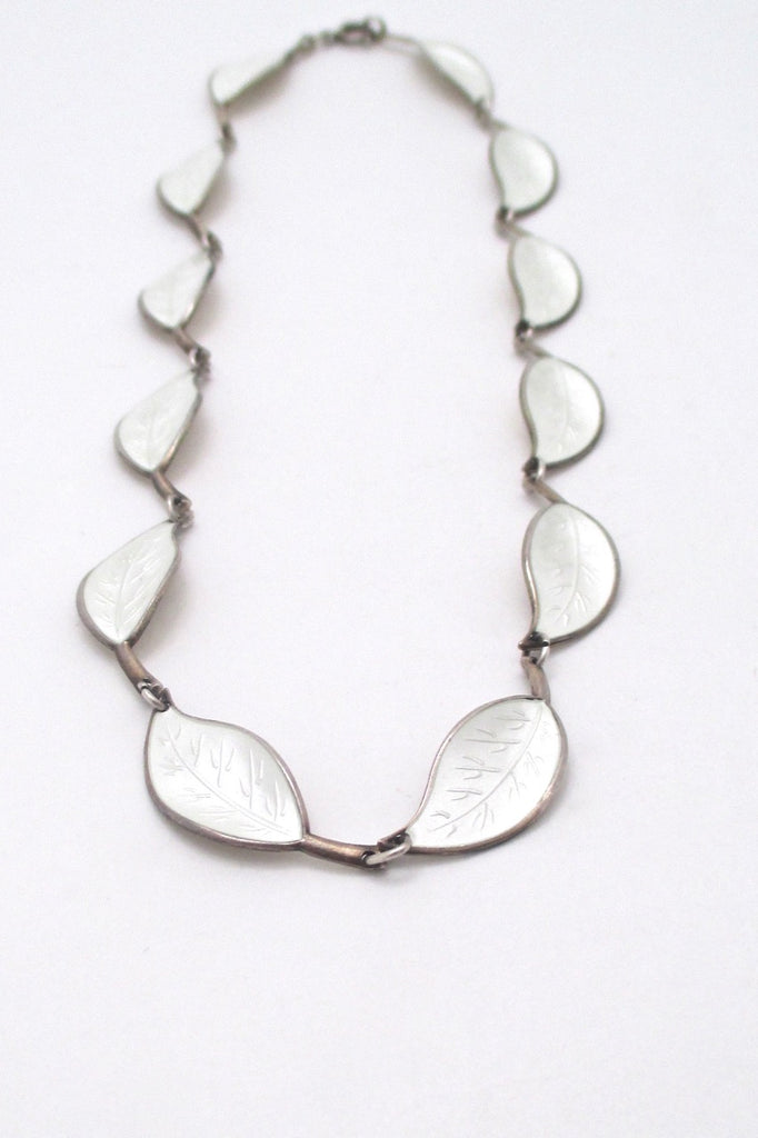detail David Andersen Norway vintage sterling silver enamel leaf necklace Willy Winnaess