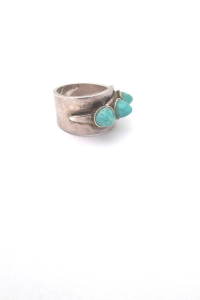 detail David-Andersen Norway vintage silver triple amazonite wrap ring
