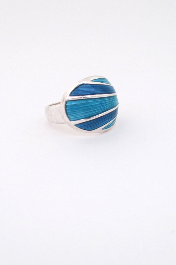 David-Andersen Norway vintage silver turquoise enamel adjustable ring Scandinavian Modern