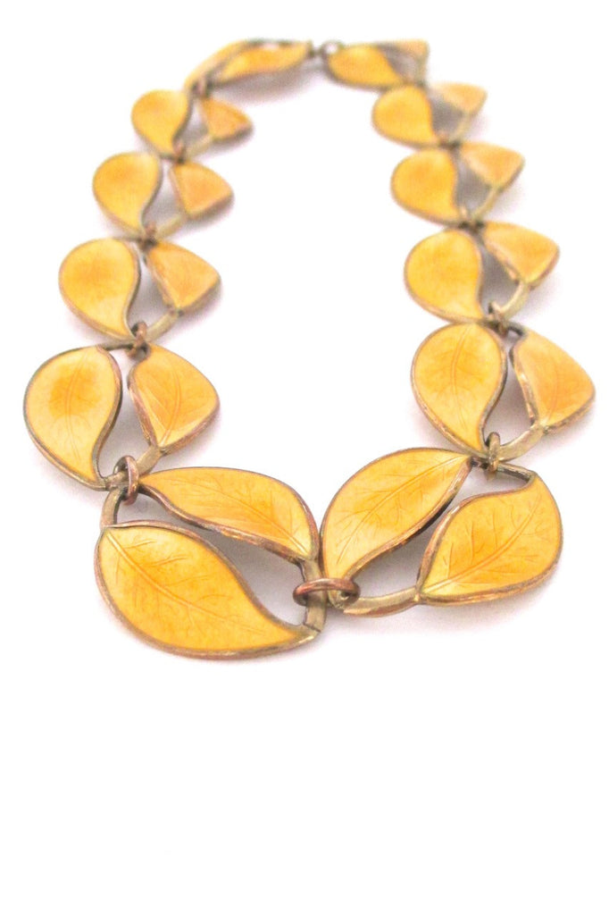 David-Andersen Norway large mid century sterling & enamel double leaf necklace by Willy Winnaess 1950s