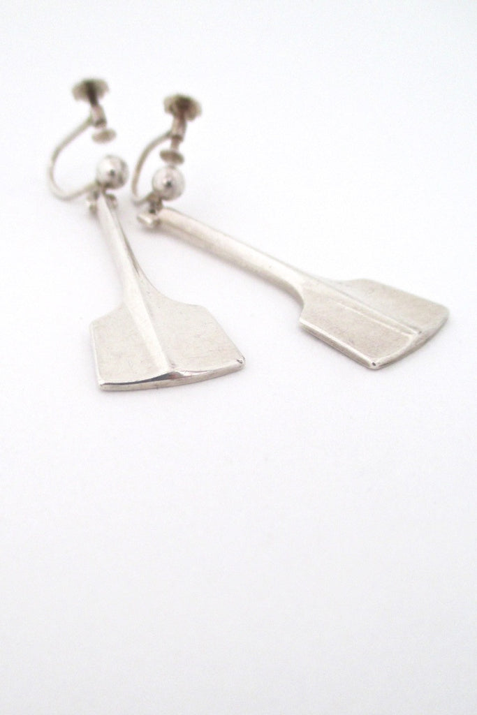 David Andersen Norway vintage silver Thors Hammer drop earrings
