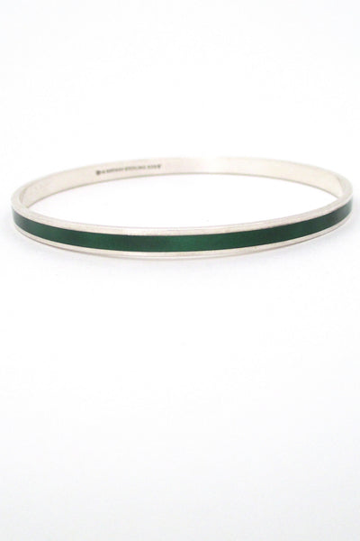David-Andersen Norway vintage Scandinavian Modernist sterling silver & enamel green bracelet