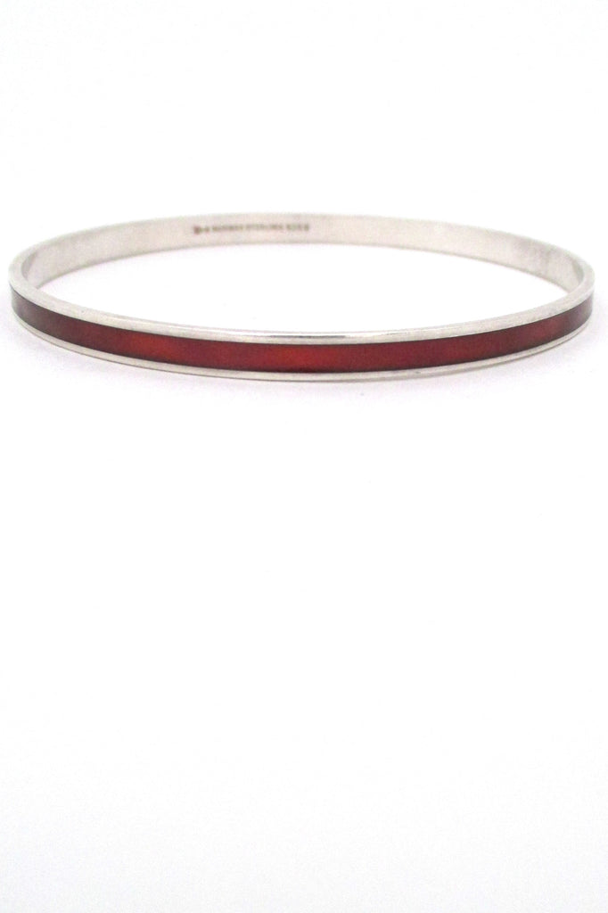 David-Andersen Norway vintage Scandinavian Modernist sterling silver & enamel red bracelet