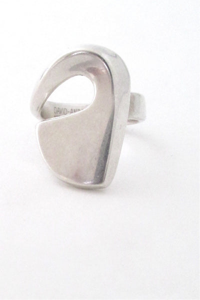 David-Andersen Norway vintage modernist silver large swirl ring