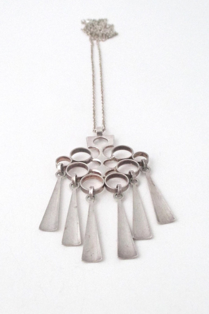 David Andersen Norway long Scandinavian modernist kinetic silver fringe pendant necklace
