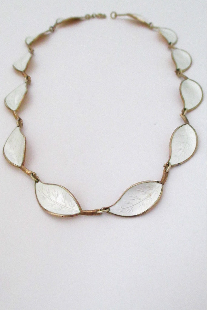 David-Andersen Norway vintage silver & enamel white leaf neacklace by Willy Winnaess