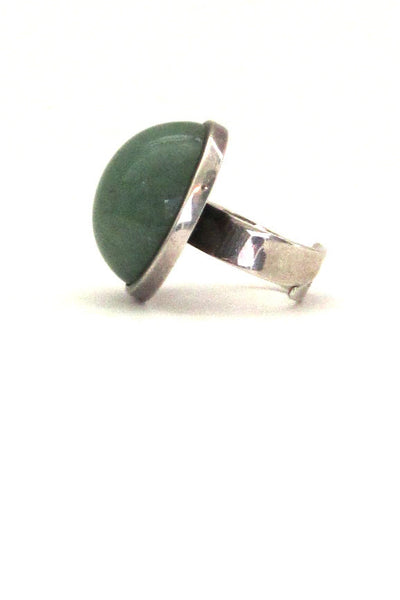 David-Andersen Norway vintage silver and aventurine large dome ring
