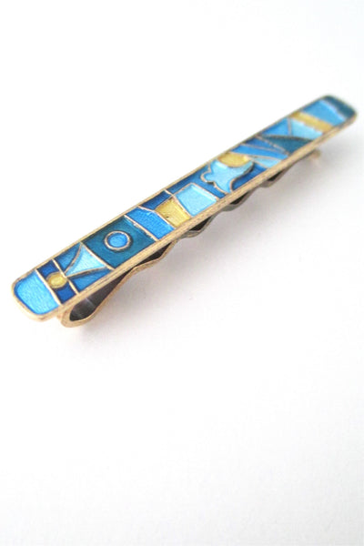 David Andersen Norway vintage Scandinavian Modernist silver enamel four seasons tie bar