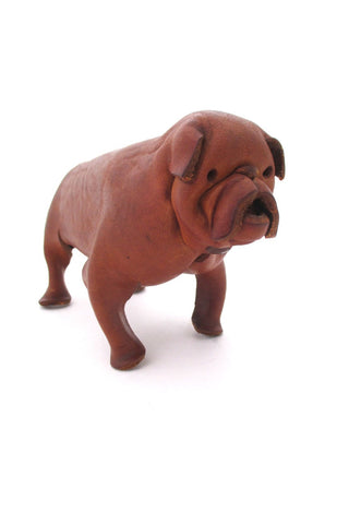 Deru Germany vintage mid century leather dog sculpture