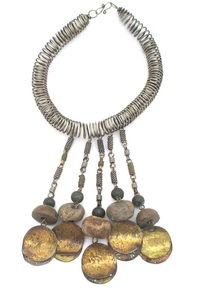 Dona Mexico massive vintage collier necklace in mixed metals and ancient stone beads statement piece