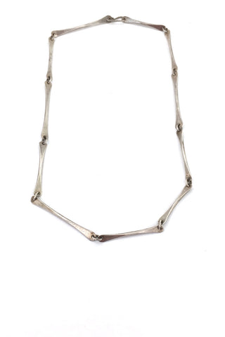 Ed Levin USA vintage modernist hammered silver long link chain necklace