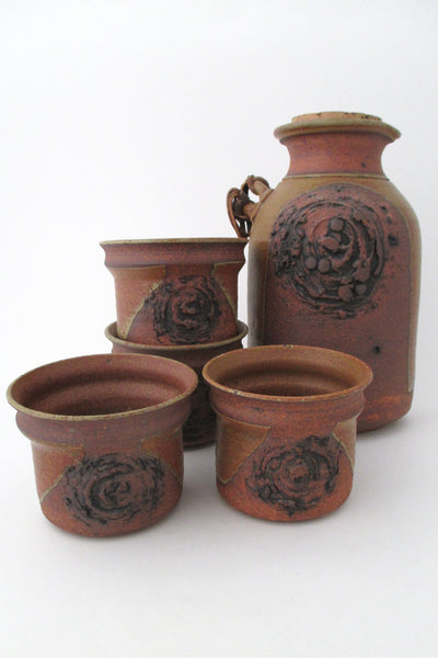 Ed Drahanchuk Canada vintage studio pottery stoneware pitcher and cup set