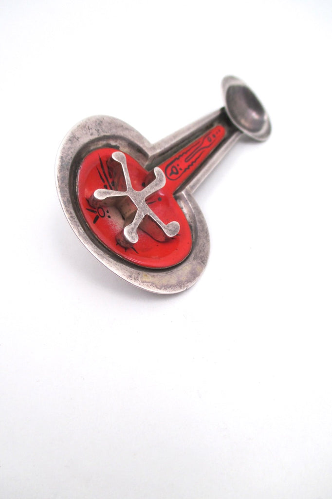 profile Eleanor Caldwell USA vintage sterling silver enamel brooch mid century modern 1950s