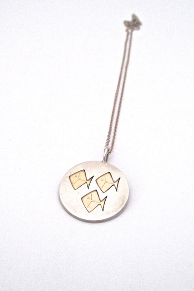 Elis Kauppi for Kupittaan Kulta Finland vintage Scandinavian Modernist silver gold plate trio of fish pendant necklace