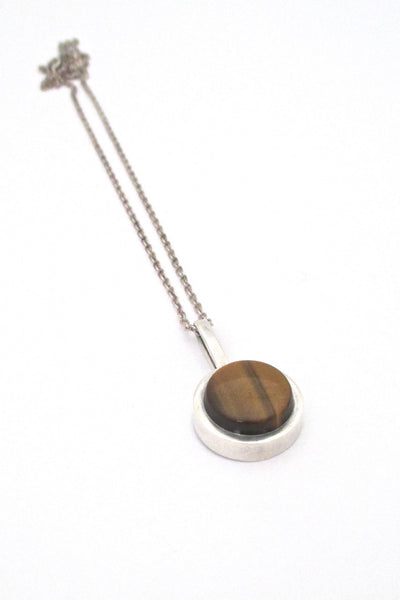 Elis Kauppi Kupittaan Kulta Finland vintage Modernist silver and tiger eye pendant necklace