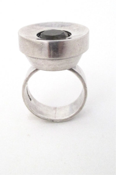 Elis Kauppi for Kupittaan Kulta Finland vintage Scandinavian modernist silver and smoky quartz large ring