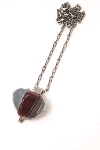 Erling Christoffersen Norway Design vintage silver banded agate necklace Nordic Design