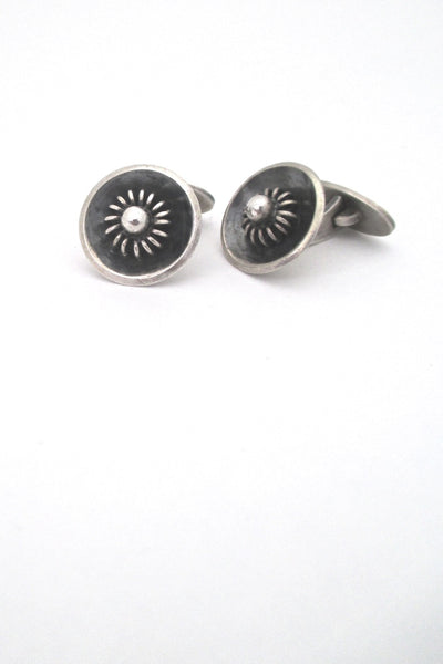 detail Ernst Willy Knudsen Denmark vintage silver coil and bead mid century modern cufflinks