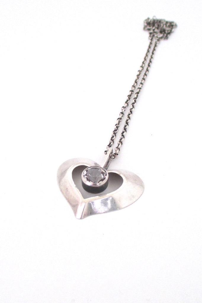 Finnish vintage silver rock crystal Scandinavian Modernist heart pendant necklace