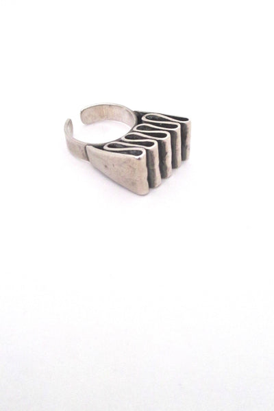 Franz Scheuerle Germany vintage silver ribbon large ring modernist design
