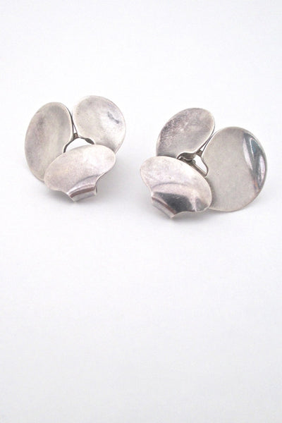 Georg Jensen Denmark vintage silver Scandinavian Modern earrings # 166 by Ibe Dahlquist