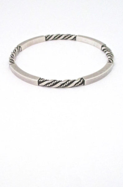 Georg Jensen Denmark vintage twisted silver bangle bracelet 17C design by Georg Jensen