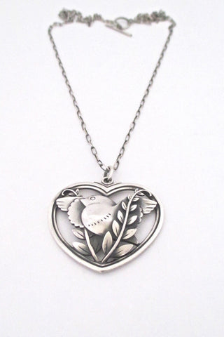 Georg Jensen Denmark vintage silver bird and heart pendant necklace by Arno Malinowksi