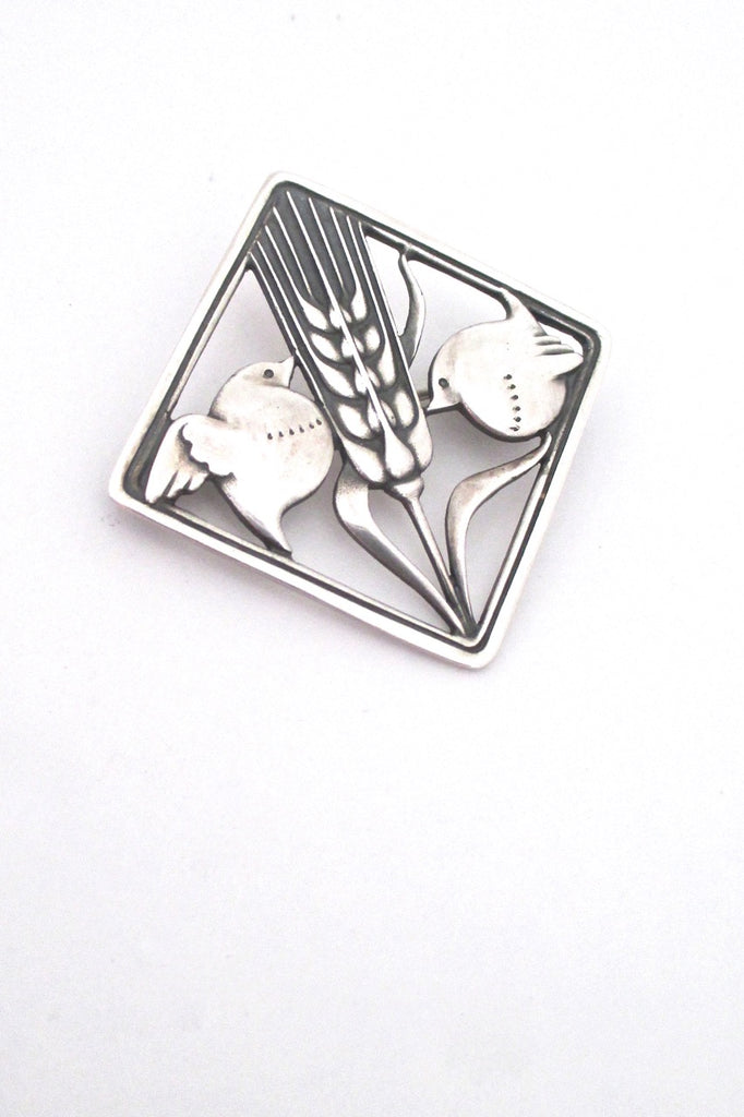 Georg Jensen Denmark vintage silver bird wheat brooch 250 by Arno Malinowski