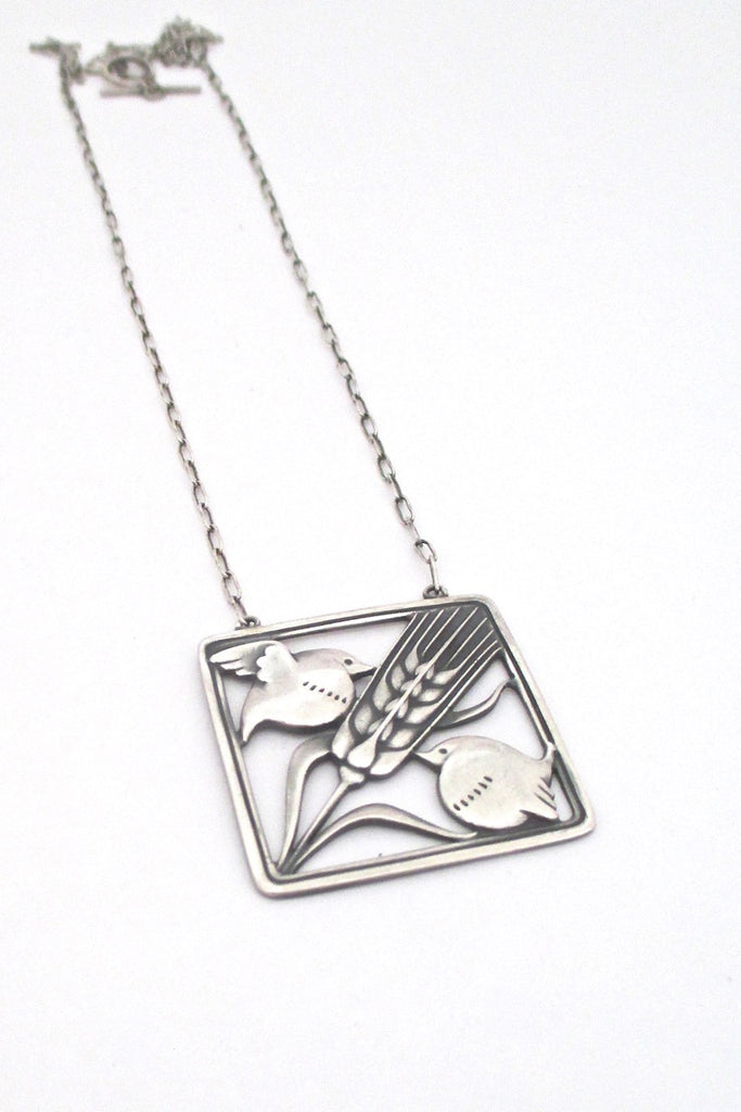 Georg Jensen Denmark vintage silver birds and wheat pendant necklace 93 by Arno Malinowski