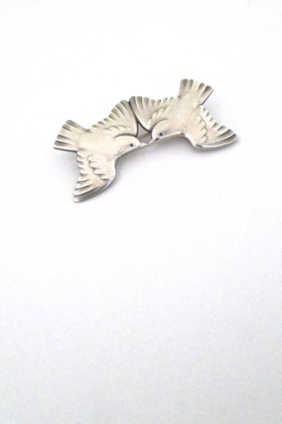 Georg Jensen Denmark vintage silver two swallows bird brooch 316A