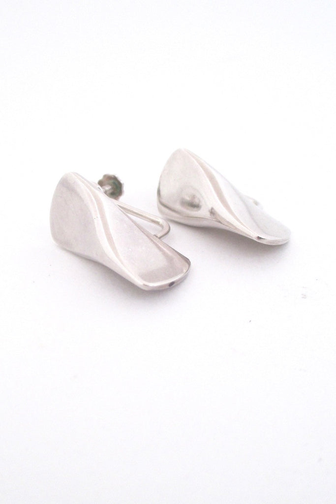 Georg Jensen Denmark vintage Scandinavian Modern silver earrings 116B by Edvard Kindt-Larsen