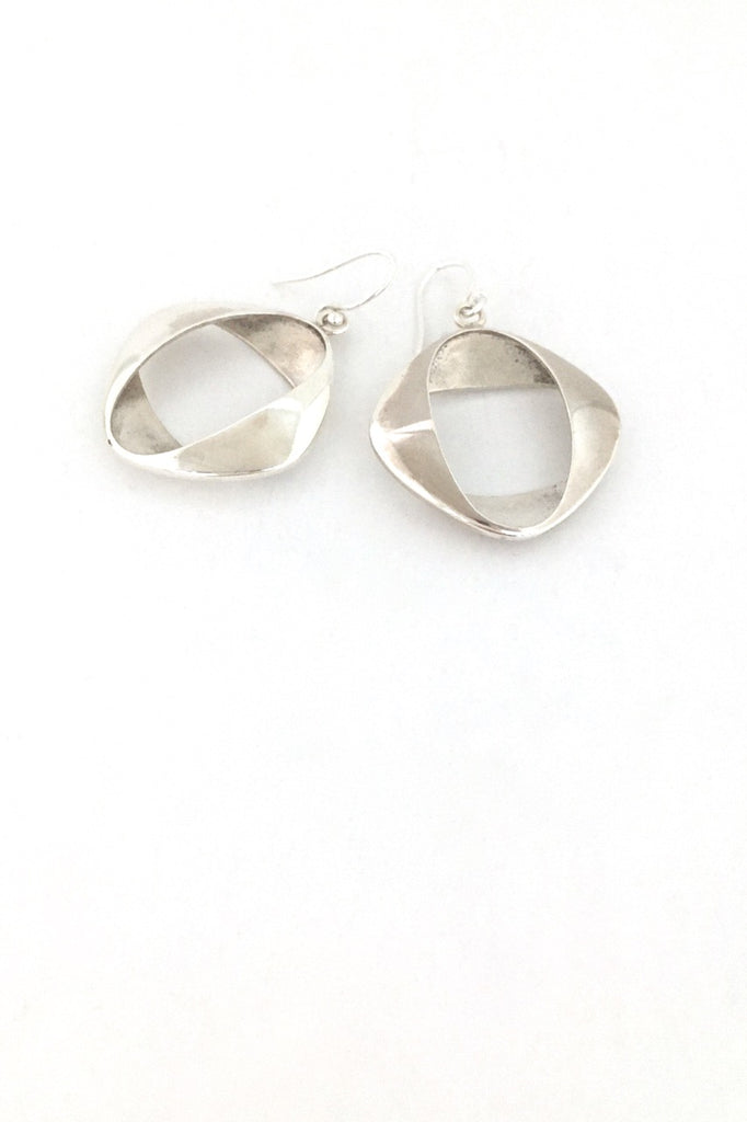 detail Georg Jensen Denmark vintage silver earrings 190 by Henning Koppel Scandinavian Modernist jewelry design