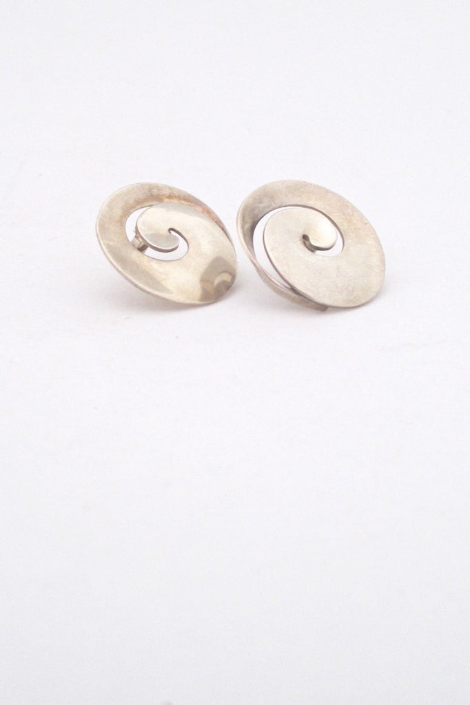 Georg Jensen Denmark vintage silver swirl earrings 371A by Vivianna Torun