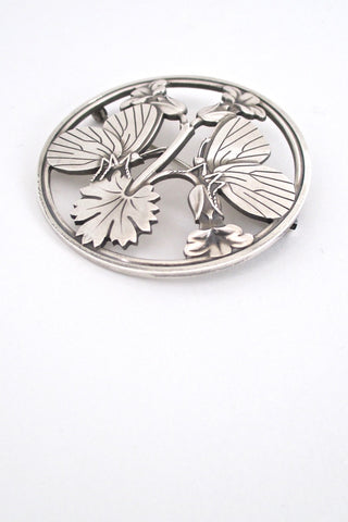 detail Georg Jensen Denmark vintage sterling silver large butterfly brooch by Arno Malinowski Scandinavian design jewelry