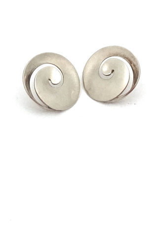 Georg Jensen Denmark vintage silver swirl earrings 371B by Vivianna Torun large Scandinavian Modern design