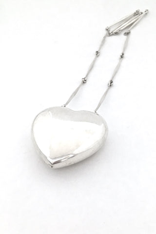 Georg Jensen Denmark large vintage silver heart pendant necklace 126 by Astrid Fog Scandinavian Modern design