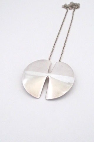 Georg Jensen Denmark Modernist silver pendant necklace 337A in the large size by Nanna Ditzel 1963