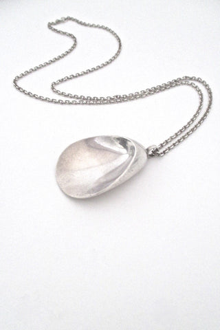 Georg Jensen Denmark vintage silver modernist shell necklace 328 by Nanna Ditzel Scandinavian Modern Design