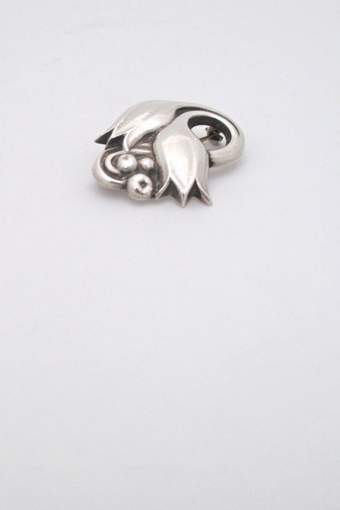 detail Georg Jensen Denmark vintage silver tulip brooch 100A early mark