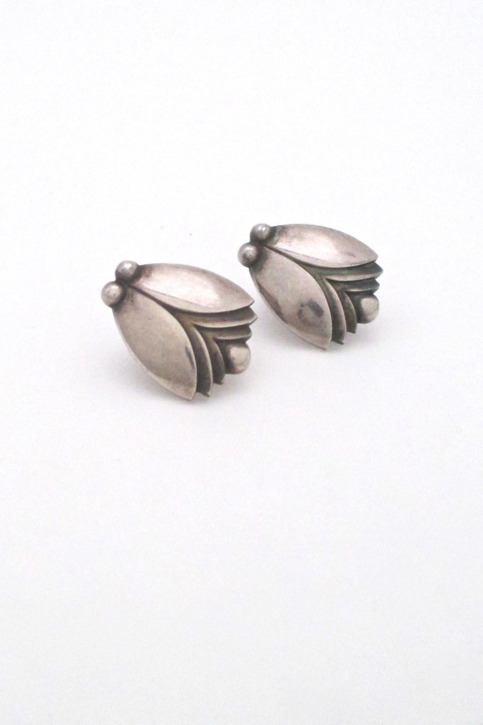 Georg Jensen vintage silver Tulip earrings 106 by Harald Nielsen