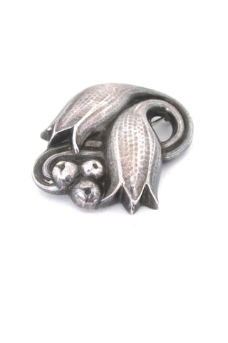 Georg Jensen Denmark vintage silver twin tulip brooch 100C large version