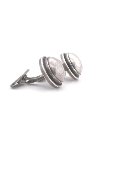 profile Georg Jensen Denmark vintage silver cufflinks 44F by Harald Nielsen large rare