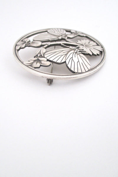 profile Georg Jensen Denmark vintage sterling silver large butterfly brooch by Arno Malinowski Scandinavian design jewelry