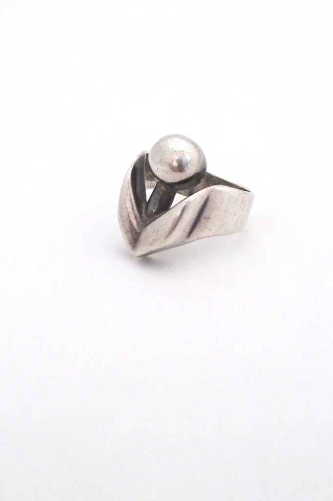 Georges Delrue Canada sculptural silver ring vintage Canadian Modernist jewelry