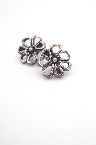 Guy Vidal Canada vintage pewter brutalist daisy post earrings
