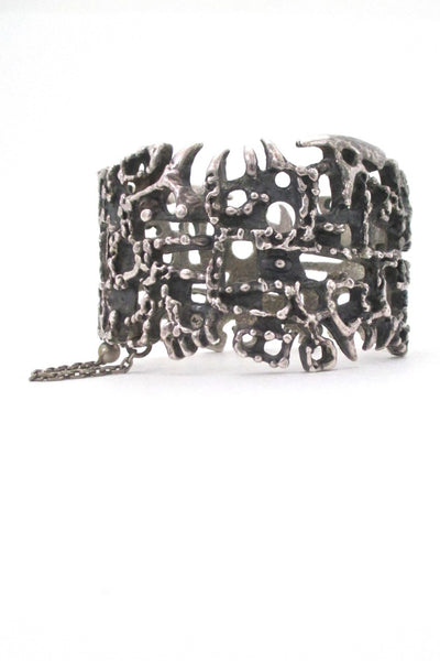 Guy Vidal Canada vintage brutalist pewter pin closure large hinged bracelet mid century jewelry