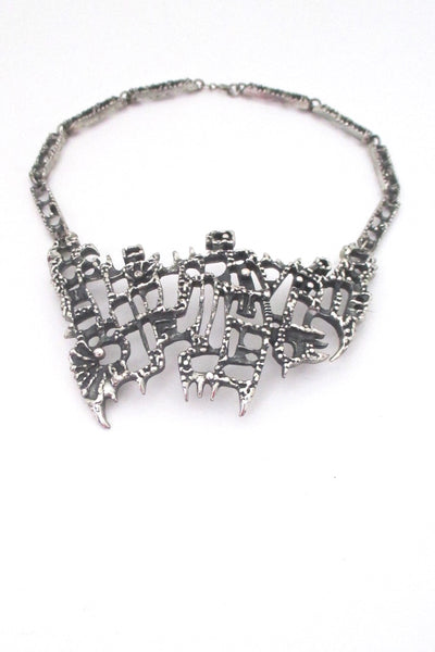 Guy Vidal Canada large vintage brutalist pewter bib necklace