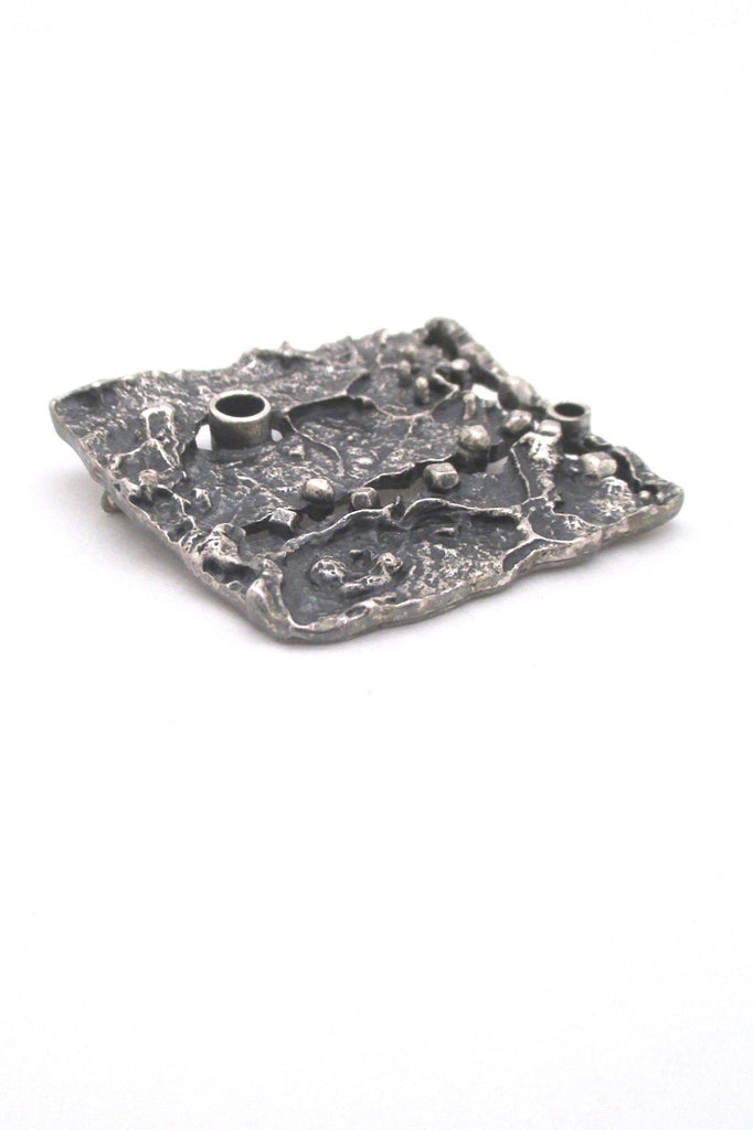 detail Guy Vidal Canada large textural pierced pewter brutalist brooch